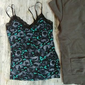 Express multi color lace trim tank top small